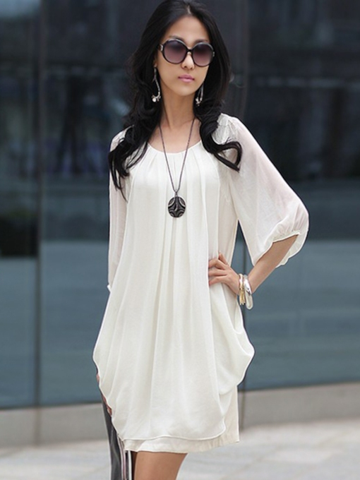 Chiffon Half Sleeve Pleated Women's Day Dress