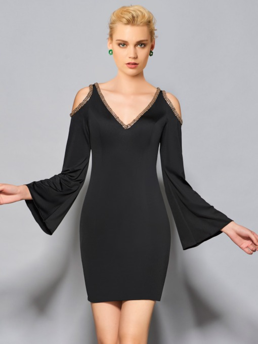 Sheath V-Neck Long Sleeves Beaded Short Cocktail Dress