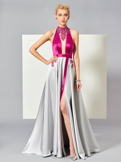 A-Line Halter Beading Split-Front Sweep Train Evening Dress