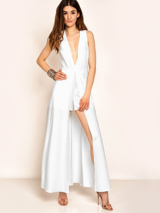 V-Neck Sleeveless White Women's Jumpsuits