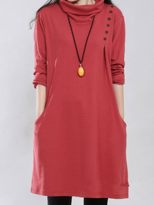 Turtle Collar Long Sleeve Women's Dress
