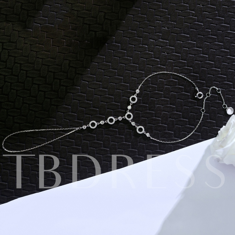 Shiny Zircon Inlaid 925 Silver Chain Bracelet