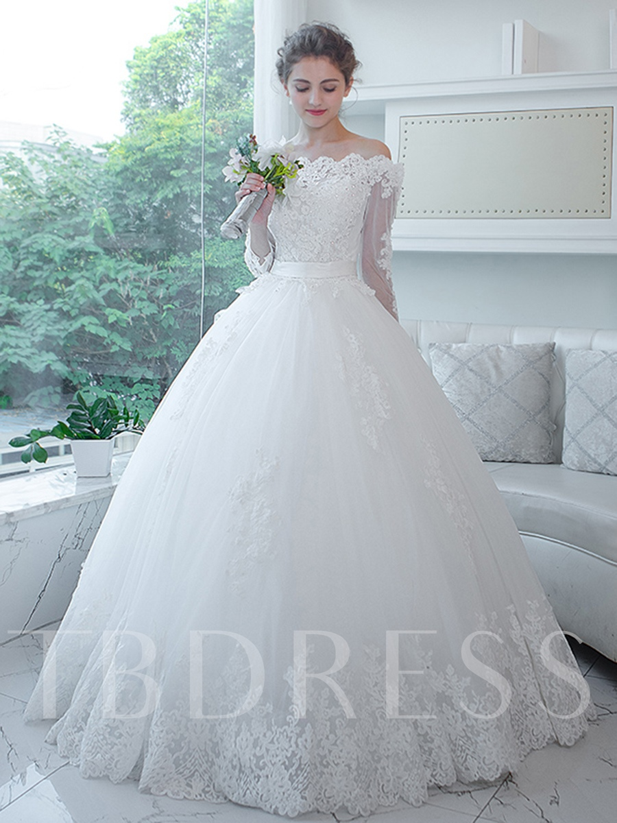 3/4 Length Sleeves Ball Gown Wedding Dress Off-The-Shoulder ...