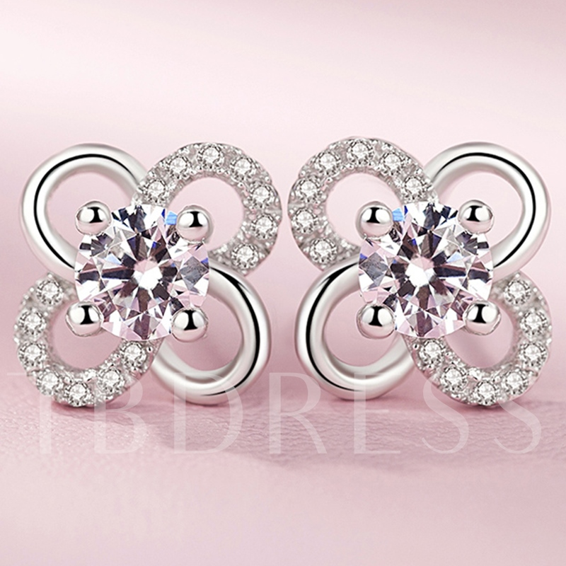 Cubic Zircon Inlaid 925 Silver Clover Stud Earrings