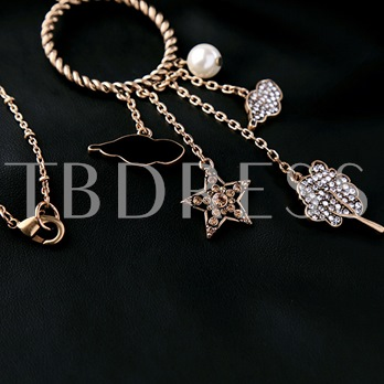 Alloy Birds & Star Pendant Long Necklace