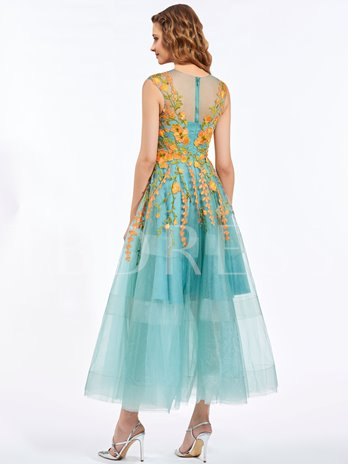 A-Line Scoop Appliques Embroidery Ankle-Length Prom Dress