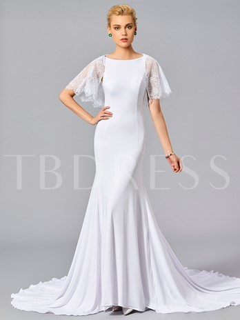 Mermaid Scoop Short Sleeves Lace Court Train Evening Dress
