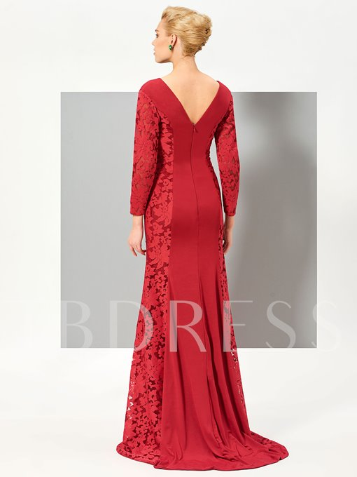 Mermaid V-Neck Long Sleeves Lace Sweep Train Evening Dress