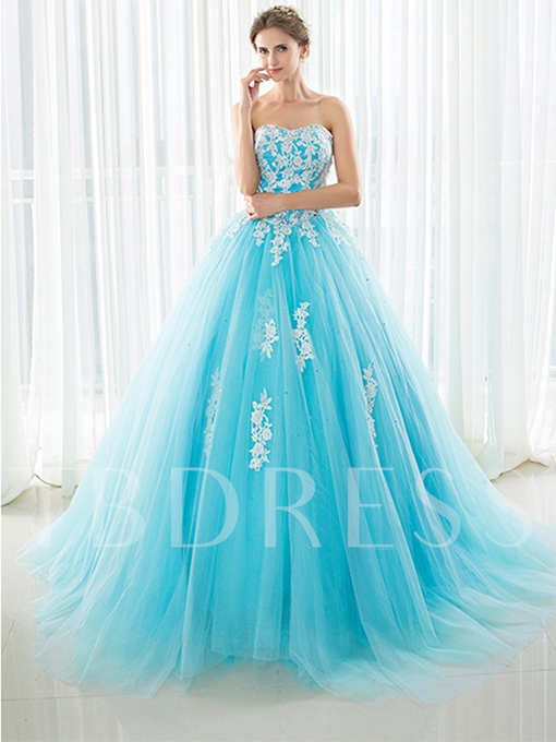 Sweetheart Appliques Beading Rhinestone Quinceanera Dress