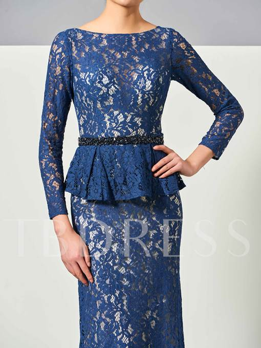 Long Sleeves Bateau Mermaid Beading Lace Sweep Train Evening Dress