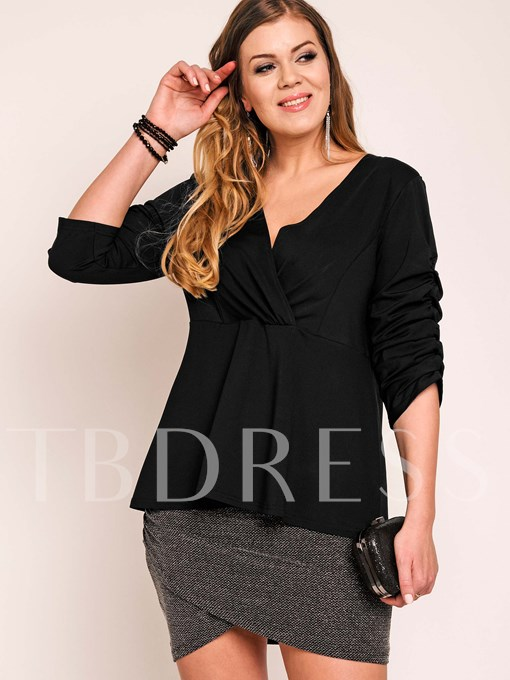 Plus Size Black V-Neck Falbala Women's Blouse