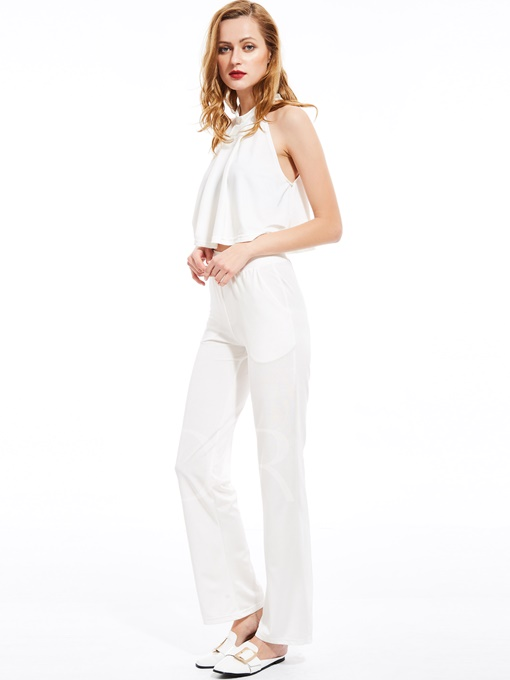 White Halter Pleated Women's Pants Suit