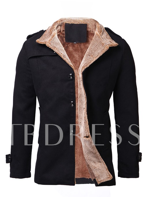 Lapel Single-Breasted Wool Men's Trench Coat