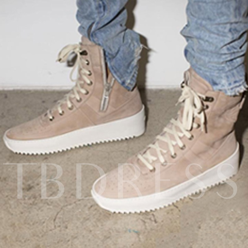 Round Toe Side Zipper Lace-Up Men's Ankle Sneakers