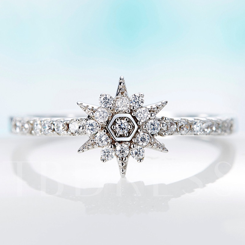 Snowflake Shaped with Rhinestone 925 Silver Ring