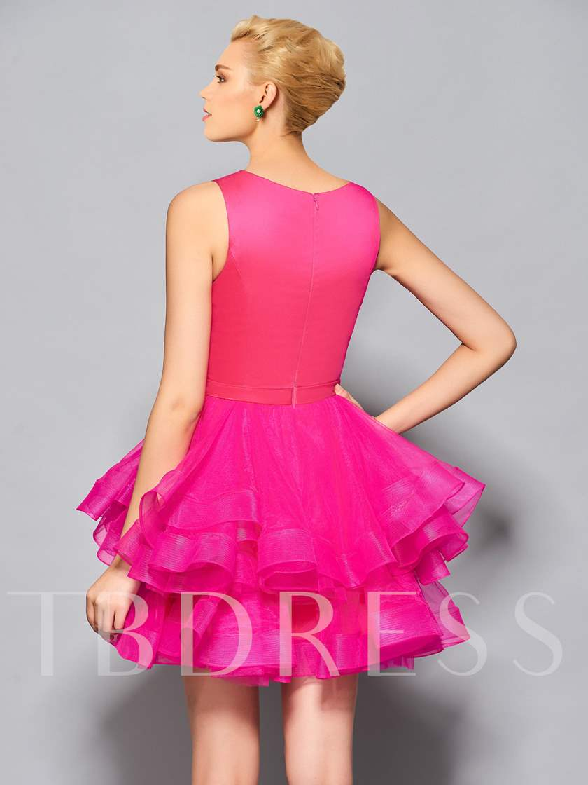 Scoop Ball Gown Pick-Ups Short Cocktail Dress