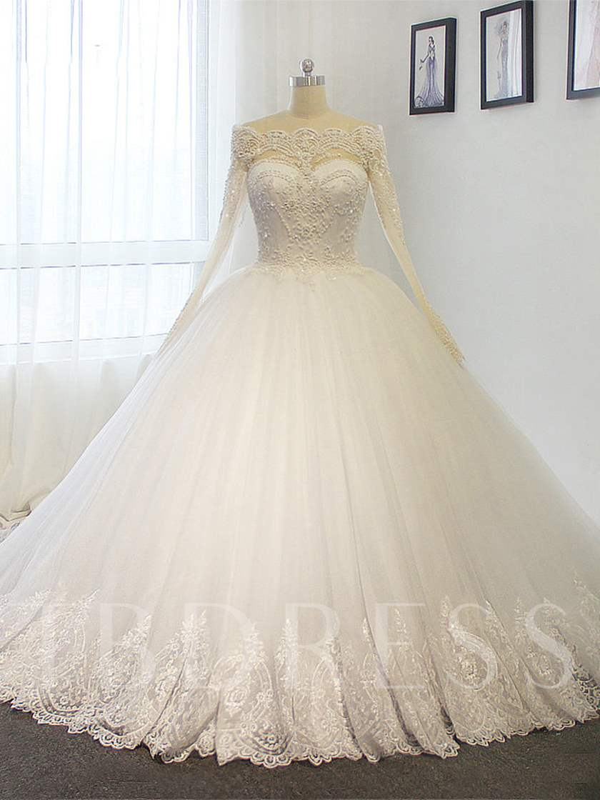 Ball Gown Appliques Beaded Long Sleeve Wedding Dress