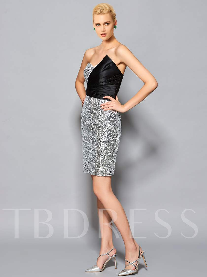 Sheath Sweetheart Pick-Ups Sequins Short Cocktail Dress