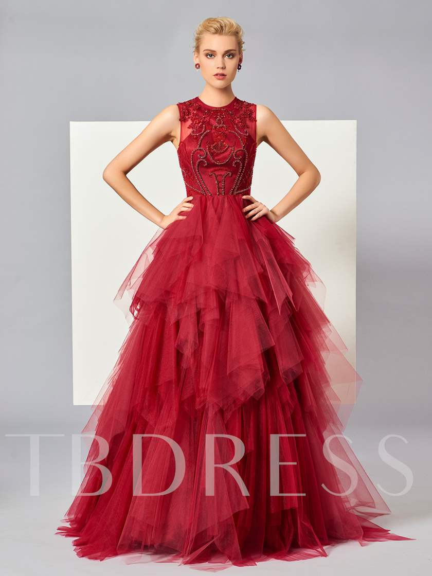 Jewel Neck Beading Tiered Ball Gown Evening Dress