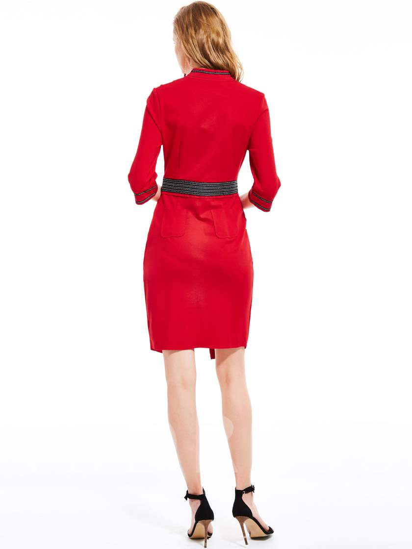 Red Half Sleeve Split Women's Bodycon Dress (Plus Size Available)