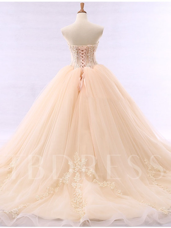 Appliques Beaded Ball Gown Wedding Dress