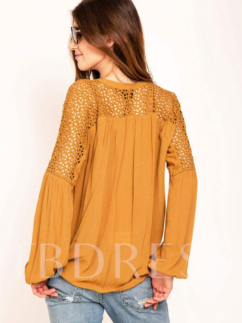 Solid Color V-Neck Hollow Loose Sleeve Women's Blouse