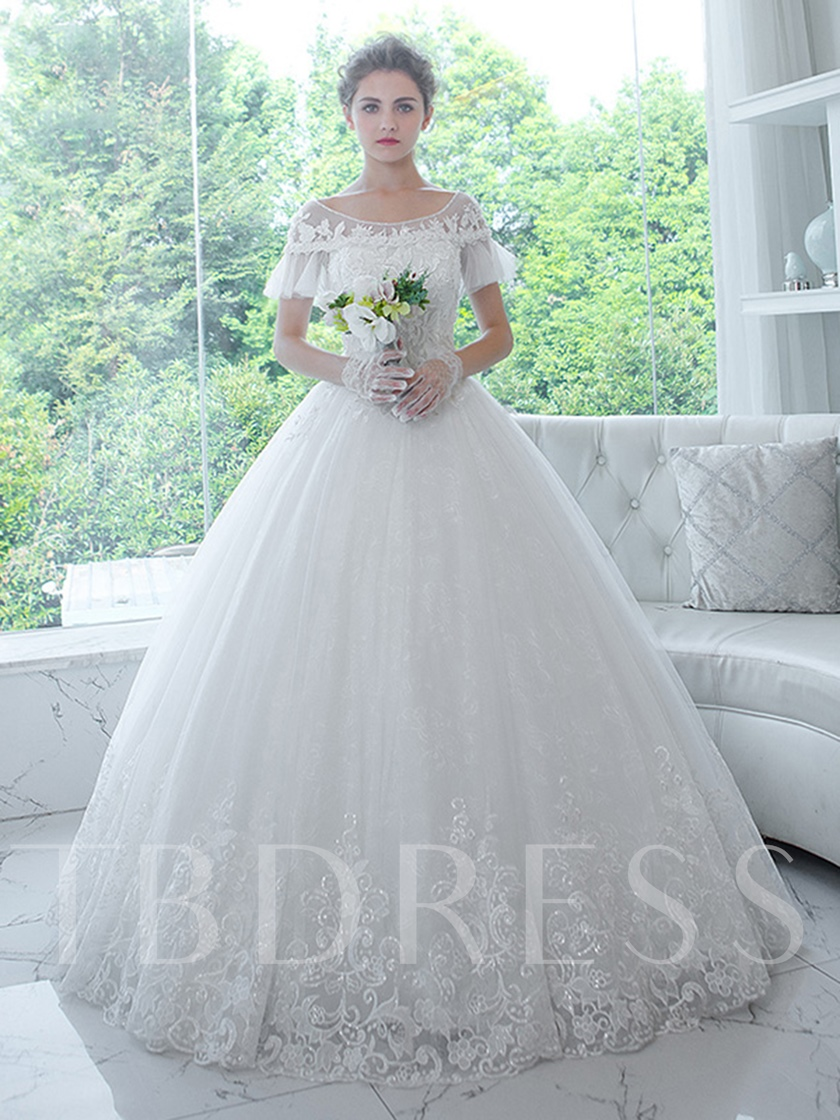 Bateau Neck Short Sleeves Appliques Ball Gown Wedding Dress