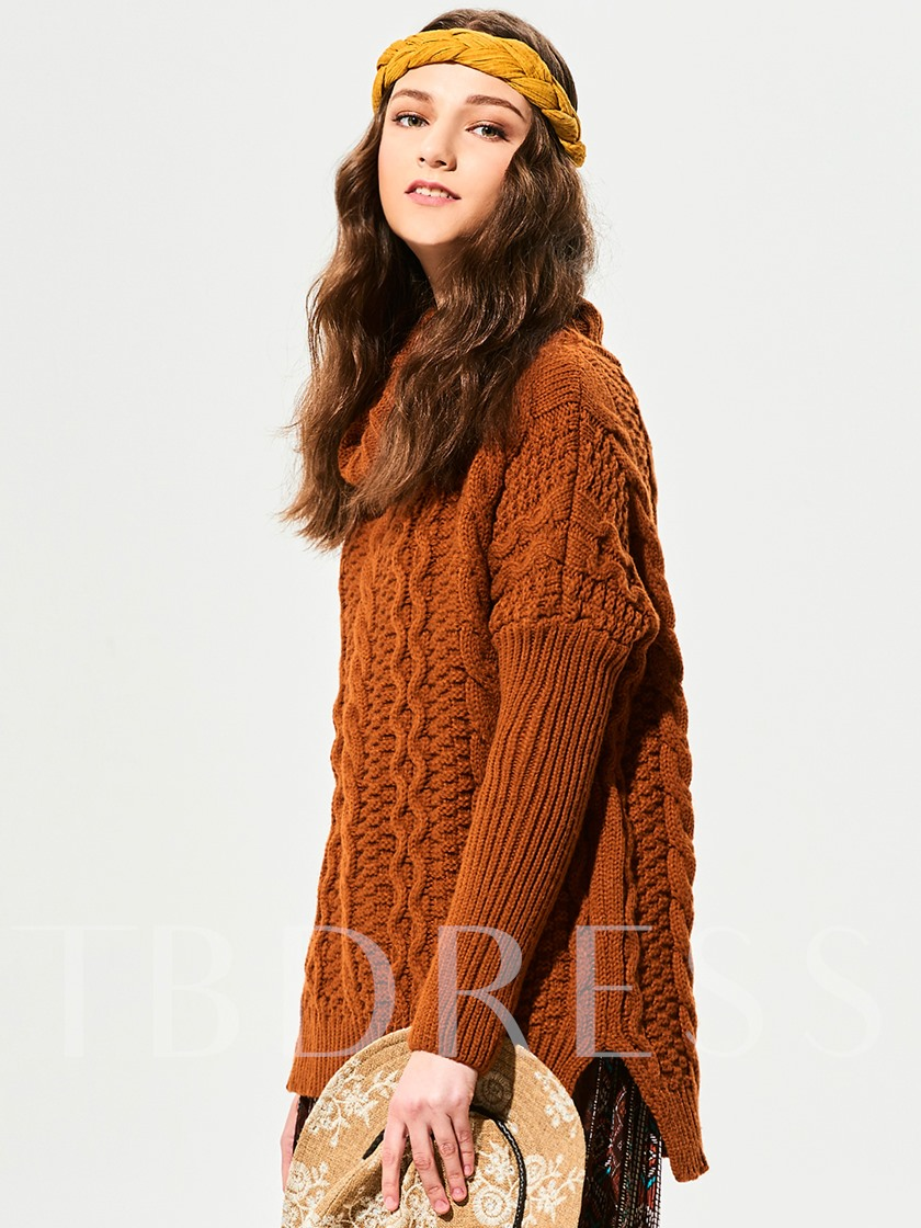 Turtle Neck Crochet Women's Sweater