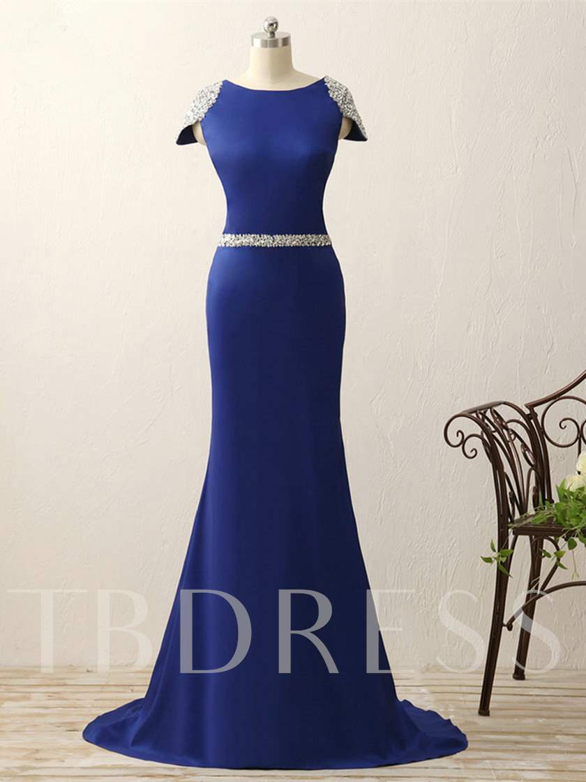 Scoop Mermaid Cap Sleeves Beading Evening Dress