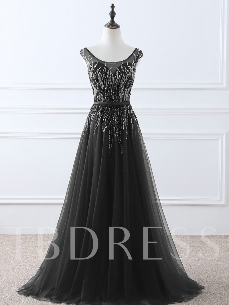 Scoop A-Line Sashes Sequins Evening Dress