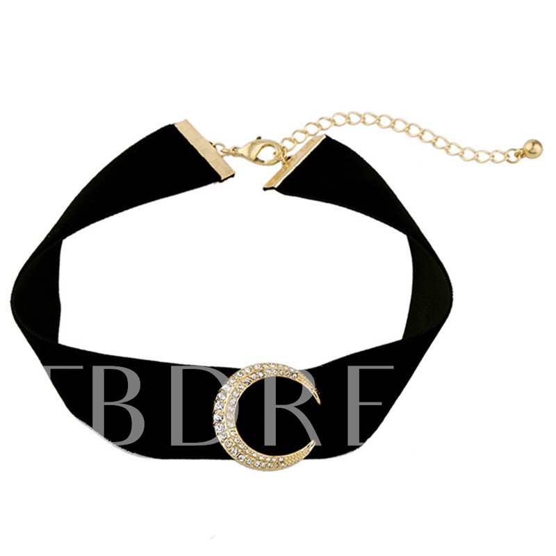Moon Decorated Black Velvet Choker Necklace