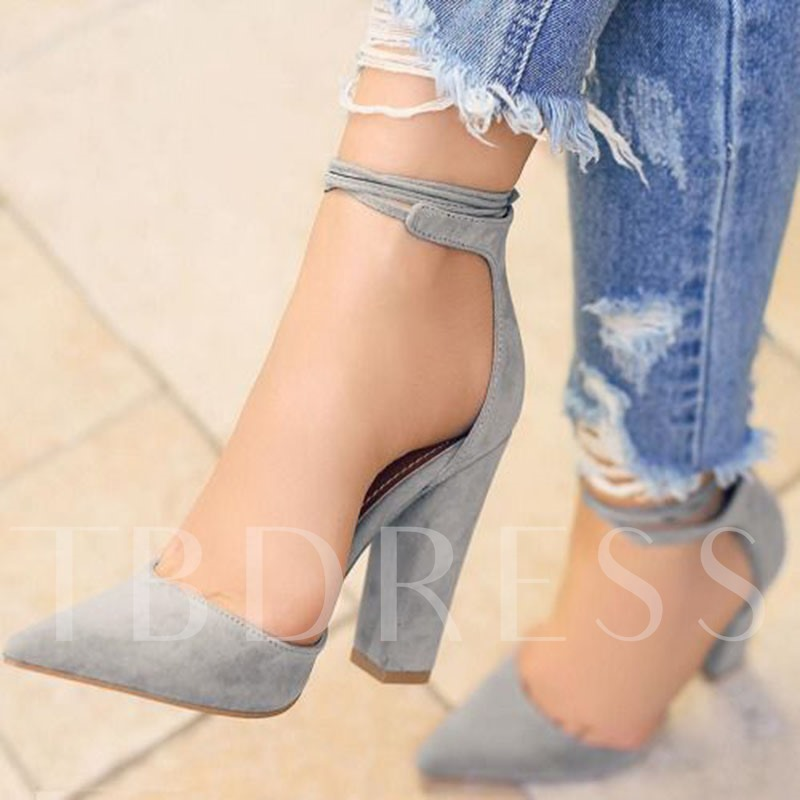 Pointed Toe Chunky High Heel Women's Pumps