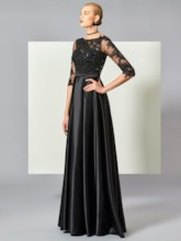 A-Line Scoop Half Sleeves Appliques Ruched Floor-Length Evening Dress