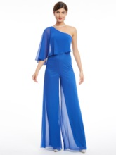 One Shoulder Beading Chiffon Evening Jumpsuits