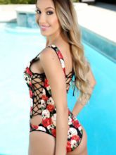 Spandex Skull Floral One-Piece Swimsuits