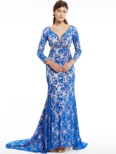 V Neck Zipper-Up Lace Mermaid Evening Dress