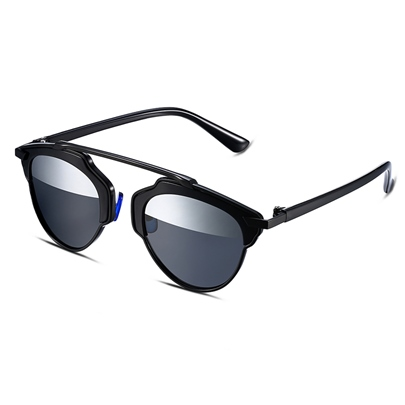 Black Frame Half Silver Lens Design Women's Sunglasses
