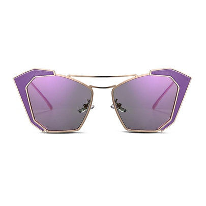 HD Purple Lens Gold Frame Design Women's Sunglasses