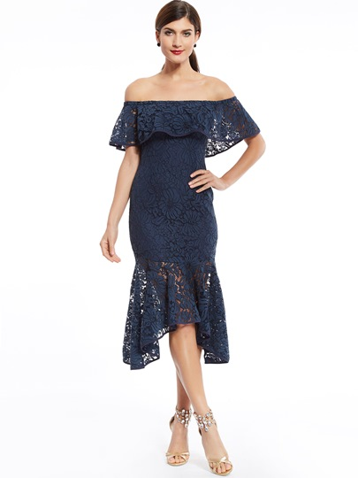 Off-The-Shoulder Lace Mermaid Evening Dress