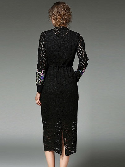 Floral See-Though Pullover Stand Collar Women's Lace Dress