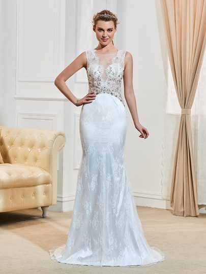 Scoop Neck Lace Beading Court Train Trumpet/Mermaid Wedding Dress