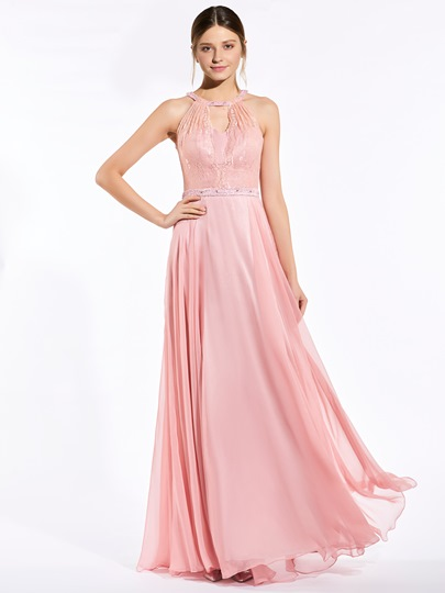 Halter Lace Beading A-Line Bridesmaid Dress