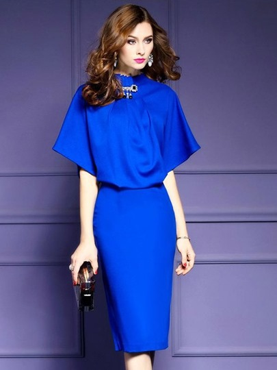 Plain Double-Layered Women's Bodycon Dress