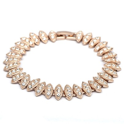 Golden Leaves Design Diamante Bracelet