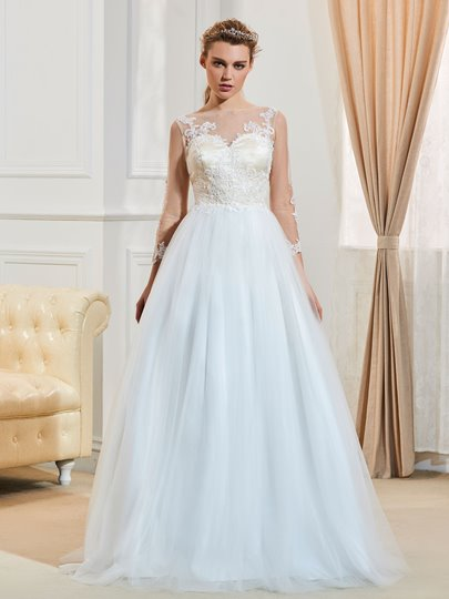 Bateau Neck 3/4 Length Sleeves Button A-Line Wedding Dress