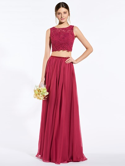 Two-Layer Lace Button A-Line Floor-Length Bridesmaid Dress