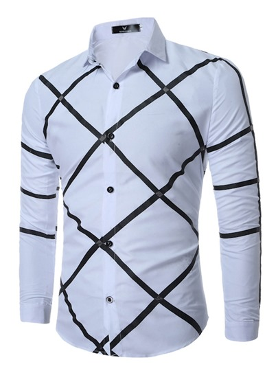 Lapel Stripe Printed Slim Fit Casual Mens Dress Shirt