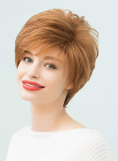Straight Layered Wigs Human Hair With Bangs Capless 10 Inches (Average)