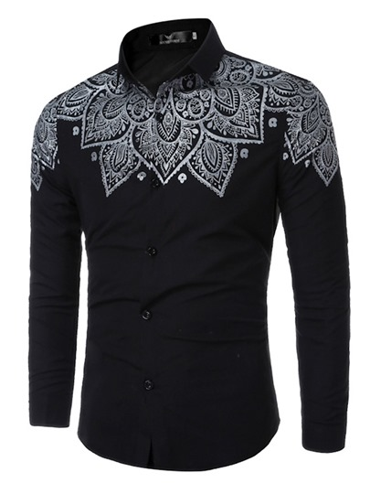 Floral Printed Men's Single-Breasted Casual Shirt