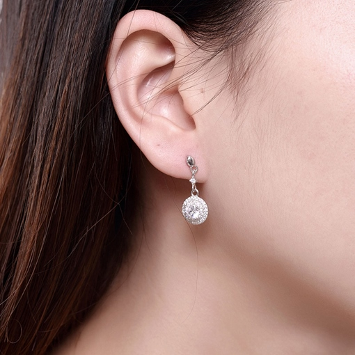 925 Silver Full Rhinestone Circle Design Earrings